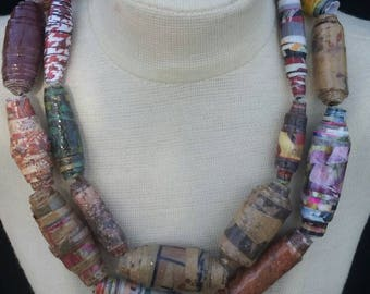 Double Strand Chunky Paper Bead Necklace