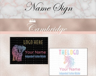 Black OR White Background Name Signs- Home Office Approved Fonts and Colors Business Card, Digital