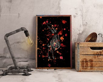 Orange and Back Squid Print.
