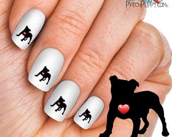 My Heart English Bulldog Nail Art Kit - Dog Nail Decals - Waterslide Nail Decals - English Bulldog Nail Decals