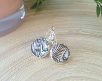 Black & White Patterned Glass Cabochon Drop/Hanging Earrings