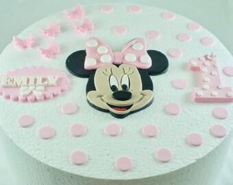 Mini Mouse Cake Topper Edible Mini Mouse Cake Topper Edible Butterflies 3D Edible Number Edible Name Plaque and 25 Polka Dots