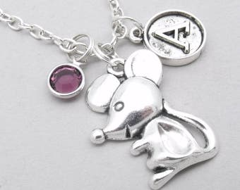 Mouse vintage style initial necklace | mouse charm necklace | mouse pendant | personalised mouse necklace | mouse jewelry | birthstone