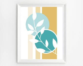 Teal Wall Art, Teal and Gold Decor, Teal and Gold Printable, Abstract Teal Print, Instant Teal Art, Turquoise Gold, Mustard Aqua Wall Decor