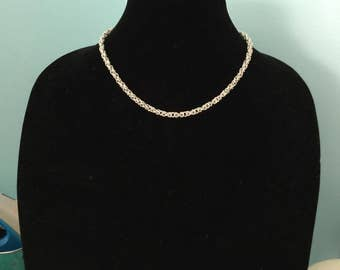 sterling silver byzantine weave chain maille necklace