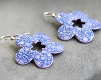 Lavender Purple Floral Dangle Earrings - Small