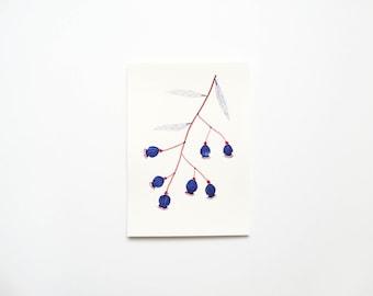 Original Painting, A5, Blue Seedpods
