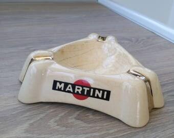 Authentic Parisian brasserie Martini ashtray. Vintage Parisian ashtray