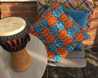 "Cushion cover 40x40cm ((16""x16"") orange and blue ethnic"