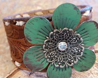 Leather Metal Flower Cuff