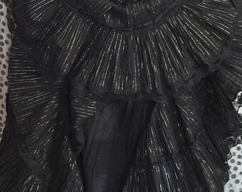 Vintage 80s Zoe D. India Cotton Gauze Metallic Tiered Party Dress