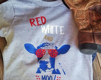4th of July Red White And Moo Summer Holiday Shirt