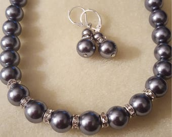 Gray Pearl earrings and necklace set
