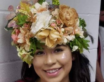 Peach rose gold fairy headpiece, renaissance festival, cosplay, wedding, halloween costume