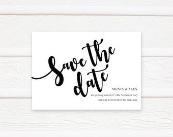 Save The Date, Printable Card, Printable, Modern, Black and White