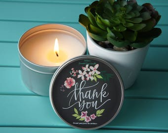 Scented Soy Candle / 'THANK YOU'/Sweet pea/Handpoured