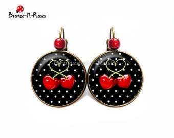 Cherry earrings cabochon bronze black white heart pea red sleepers