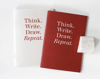 Pocket size Notebook set / 2 colors[Red,Ivory] / A set of 2pcs / 04-n