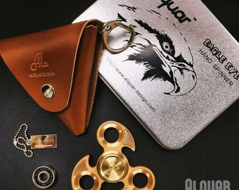 Fidget Spinner Metal, Alquar Eagle Eye Pure Copper Tri Hand Spinner, Exclusive Professional Bearing , Luxury Metal Gift Box Set