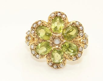 Stunning Vintage 9Ct Gold Peridot & Seed Pearl Cluster Ring, Size O, 5.2g