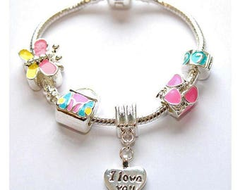 Liberty Charms Children's 'I Love You' Silver Plated Charm Bead Bracelet With Gift Box & Velvet Pouch
