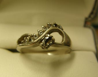 Sterling Silver CZ Overpass Ring  - Size 9 1/2
