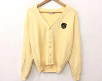 Rare! Vintage 90's LACOSTE Club Full Button Sweatshirt Yellow Color