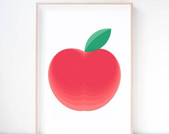 Red Delicious Apple Art Print. Apple Art. Apple Illustration. Fruit Print. Kitchen Wall Art. Playroom Decor. Dining Room Art. Nursery Print.