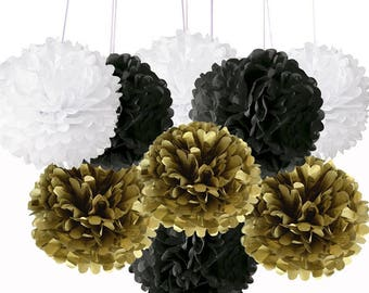 Pack of 9 Mixed Gold Black White Tissue Paper Pom Poms Flower Ball for Weddings Birthday Bridal Boy Baby Showers Party Nursery Decoration