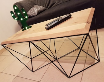 Table low top and steel wired graphic beveled solid oak wood. Customizable