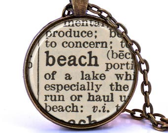 Beach Dictionary Pendant Necklace