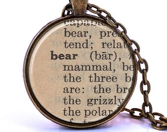 Bear Dictionary Pendant Necklace