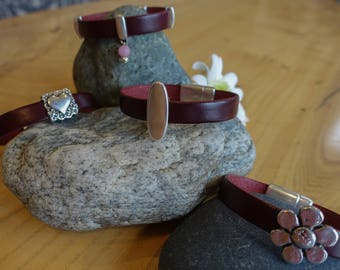 Burgundy Flat Leather Bracelets