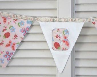 Baby girl bunting, baby girl nursery bunting, nursery decoration, new baby bunting, floral bunting, pink bunting, nursery garland