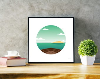 Boat - Illustration of a boat reaching an island in the middle of the ocean. Optimistic colors & vibe. Instant download print file.