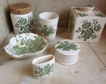 English porcelain, dressing table set from Crown Devon, shabby chic