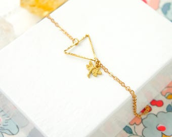 Dragonfly Bracelet, Nature Lover Gift, Geometric Bracelet, Dainty Bracelet, Everyday Jewellery, Teacher Gift, Thank You, Summer Jewelry