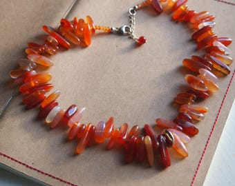 Carnelian and sterling silver chunky chip semi-precious gemstone choker necklace