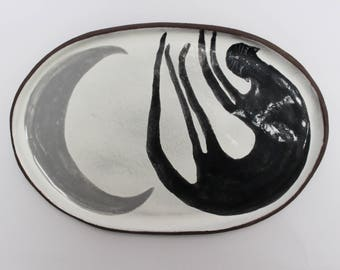 Cat and the moon - ceramic plate, spoon rest, magic plate