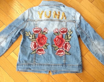 First name flower custo jacket