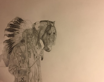 Native American Chief & Horse