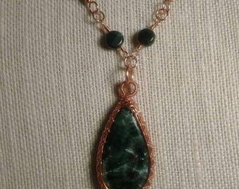 Seraphinite and malachite necklace