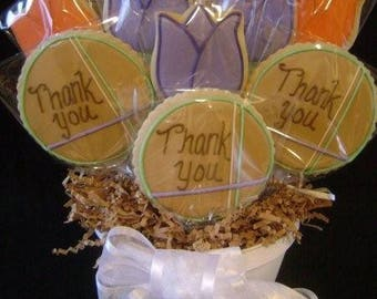 Thank You cookie bouquet | Custom decorated cookie gift | Cookie basket arrangement | Thanks | Appreciation