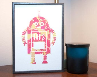Watercolor Robot Print 3