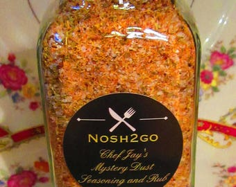Chef Jay's Secret Mystery Seasoning Dust And BBQ Rub in a 6 oz Bottle with Tamper Proof Seal,
