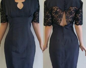 Vintage lace open back little black Dress