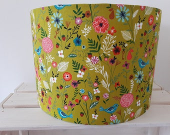Lime Green Floral Drum Lampshade with Birds