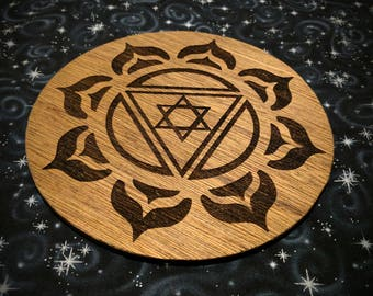 Crystal Grid for Meditation with Flower of Life and Ganesh Yantra Double Sided