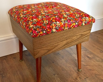 Retro footstool with storage in Liberty fabric