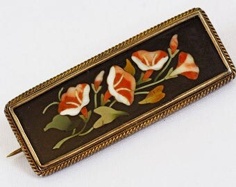 Antique Pietra Dura Silver Brooch